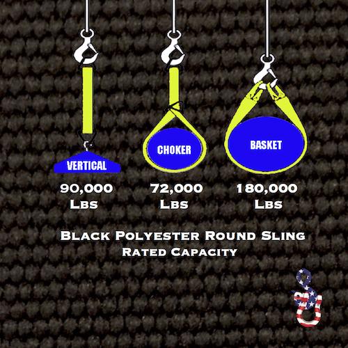 Black 9000 Round Sling X 6 Feet