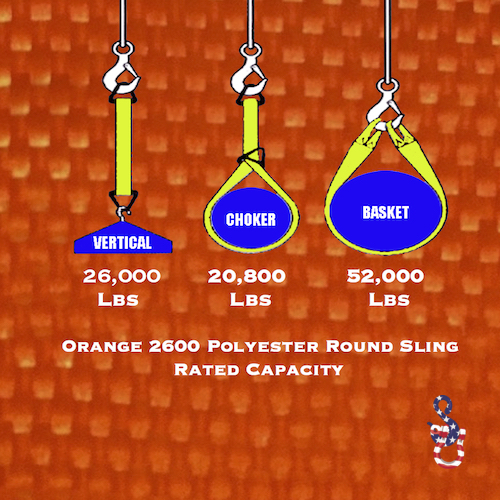 Orange 2600 Round Sling X 18 Feet